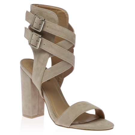 Emilie Strappy Heels in Nude Faux Suede
