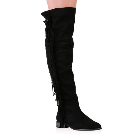Francine Over The Knee Boots in Black Faux Suede