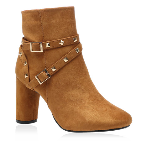 Kelsey Heeled Boots in Tan Faux Suede