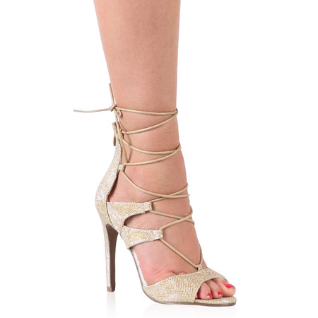 Simone Lace Up Heels in Gold Shimmer
