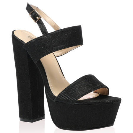 Thalia Platform Heels in Black Shimmer