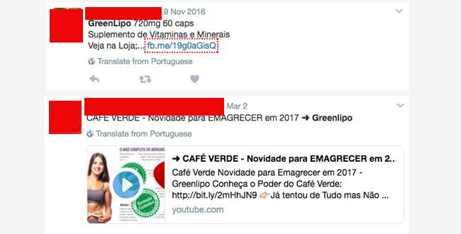 Pesquisa no twitter procurando depoimentos de quem já usou Greenlipo