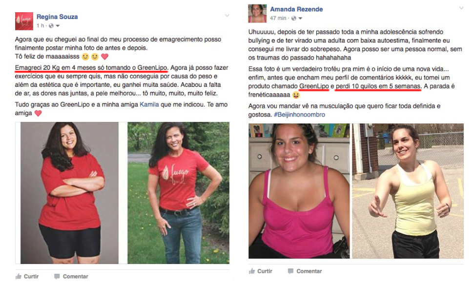 Depoimento de clientes de Greenlipo mostrando antes e depois do uso do produto. Fonte imagens: Site Greenlipo