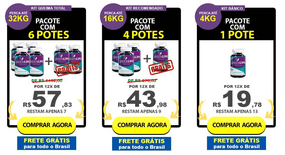 Tabela de preços e kits da Greenlipo. Imagem retirada no site da empresa no dia 07/03/2017