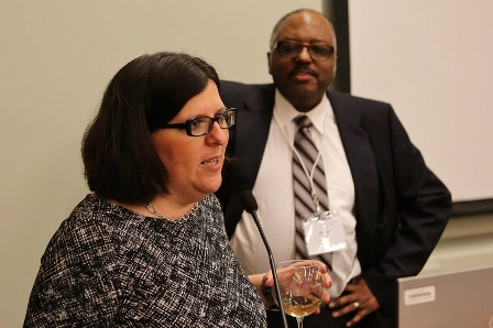 Dr. Marybeth Gasman and Dr. Michael Nettles of the Educational Testing Service lead a discussion at a national meeting in Princeton, N.J. (Photo by Darryl Moran/ Courtesy of Marybeth Gasman)