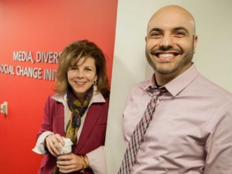 Professor Stacy L. Smith and Marc Choueiti, MDSC researcher and project administrator, will lead an effort to hold Hollywood accountable on matters of diversity. (Brett Van Ort/USC Annenberg)