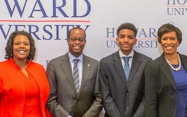 From left to right, DCPS Chancellor Kaya Henderson, Howard University President Wayne A.I. Frederick, McKinley Technology High School student Miles Jack Johnson and D.C. Mayor Muriel Bowser kick off the new dual enrollment program. (Photo courtesy of Howard University)