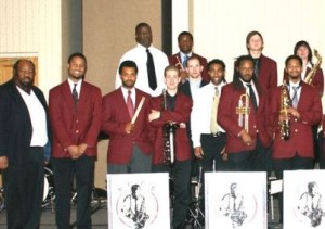 Dr. Ira Wiggins (far left) and an NCCU student Jazz ensemble