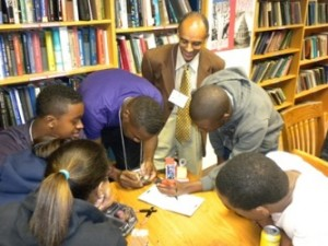 Dr. Yacob Astatke interacts with Morgan State University students. (Photo courtesy of Dr. Yacob Astatke)