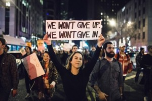 Thousands of protesters take to the streets of Chicago, Illinois, USA, on November 9, 2016 after Donald Trump was elected president of the United States. (Photo from Sipa via AP Images)