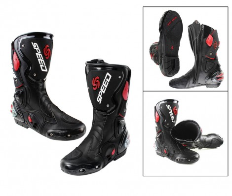 Pro-Biker Speed FULL Bike Riding Shoes With Shin Guard Black Size-8