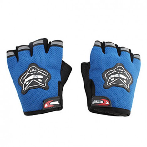 Knighthood 1 Pair of HALF Hand Grip Gloves for Bike Motorcycle Scooter Riding - Blue Colour