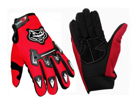 Knighthood 1 Pair of Hand Grip Gloves for Bike Motorcycle Scooter Riding - Red Colour