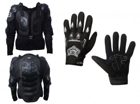 Fox Bike Riding Armor Jacket L(40) + Knighthood Bike Riding Gloves-BLACK