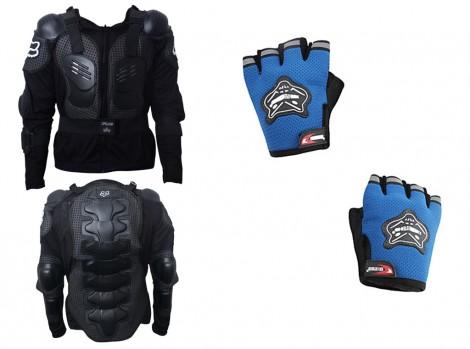 Fox Bike Riding Armor Jacket XL + Knighthood HALF Cut Hand Grip Gloves-BLUE