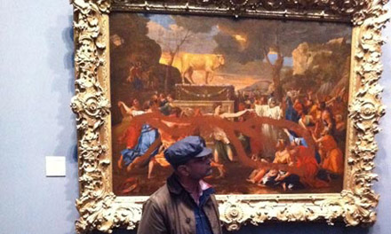 "Poussin's ""The Adoration of the Golden Calf"" after vandalized"