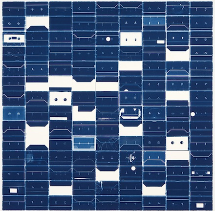 Marclay-Cyanotypes-Fraenkel (Large Cassette Grid #9)