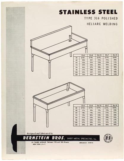 """Donald Judd, Bernstein Bros. Brochure """"Heliarc Welding"""". Sprueth Magers"""