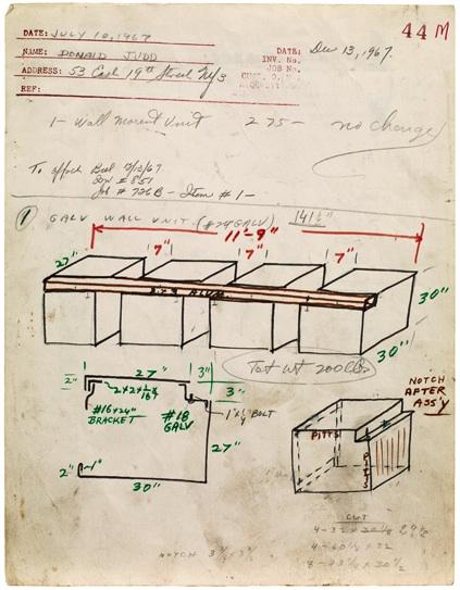 Donald Judd, Bernstein Bros. Fabrication Drawing Job #44M (1967). Sprueth Magers