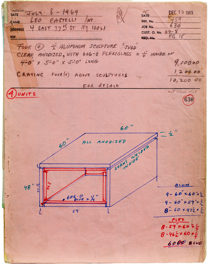 Donald Judd, Bernstein Bros. Fabrication Drawing Job #630 (1969). Sprueth Magers