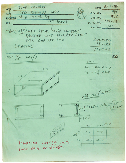 Donald Judd, Bernstein Bros. Fabrication Drawing Job #652 (1974). Sprueth Magers