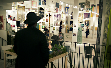AO - Installation View with Spectator - Brucennial - 2012