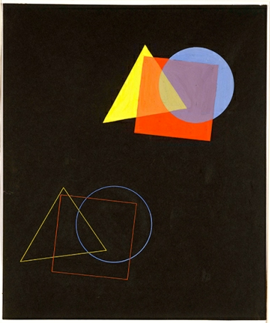 """Eugene Batz, """"The Spatial Effects of Colors and Forms"""" from Kandinsky's course (1929), Barbican. Photo via Bauhaus-Archiv."""