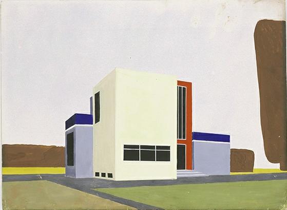 Farkus Molnar, Desing for a single-family house (1922). Barbican. Photo via Bauhaus-Archiv.