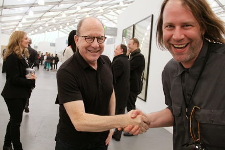 Jerry Saltz and Handshake Guy - Frieze NYC - 2012