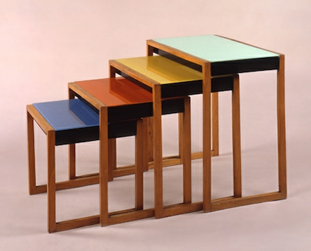 Josef Albers, Set of Four Stacking Chairs (1927), Barbican. Photo via Josef and Anni Albers Foundation.