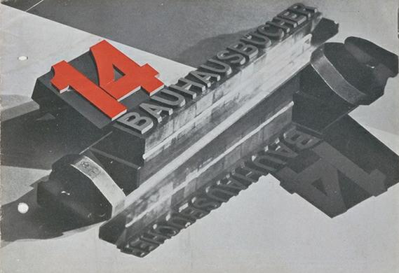 Lazslo Moholy Nagy, Prospectus 14 Bauhausbucher (1928), Barbican.