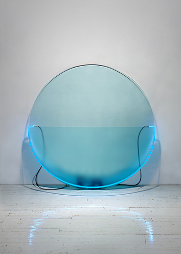 Keith Sonnier Mary Boone Lit Circle Blue with Etched Glass