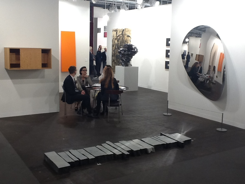 L-R Works by Donald Judd, Carmen Herrera, Lee Ufan, Tony Cragg and Anish Kapoor at Lisson Gallery's stand at Art Basel