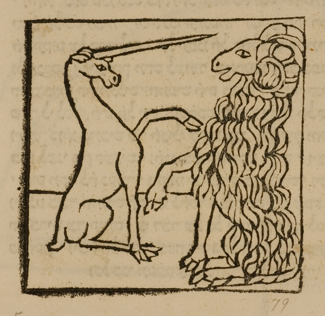 """Unicorn and Ram,"" from the ""Meshal ha-Kadmoni (Fable of the Ancients),"" Courtesy of The Library of The Jewish Theological Seminary)"