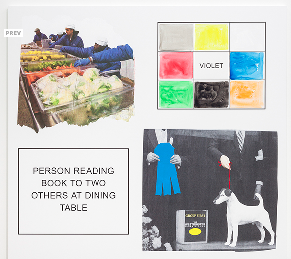 STORYBOARD (IN 4 PARTS) PERSON READING BOOK TO TWO OTHERS AT DINING TABLE, 2013_john baldessari_spruth magers berlin