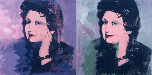 Andy Warhol. Illeana Sonnabend. 1973. Acrylic and silkscreen ink on canvas. two panels 40 x 80 cm.