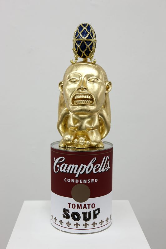 "Danny MacDonald, A Totem Of Exaggerated Fictional Objects (Soup Can, Idol From ""Raiders Of The Lost Arc"", Faberge Egg), (2010) via Independent"