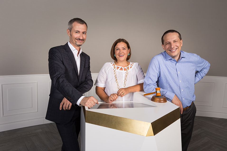 Auctionata Founders, left to right, Georg Untersalmberger, Susanne Zacke, Alexander Zacke, via Art Daily