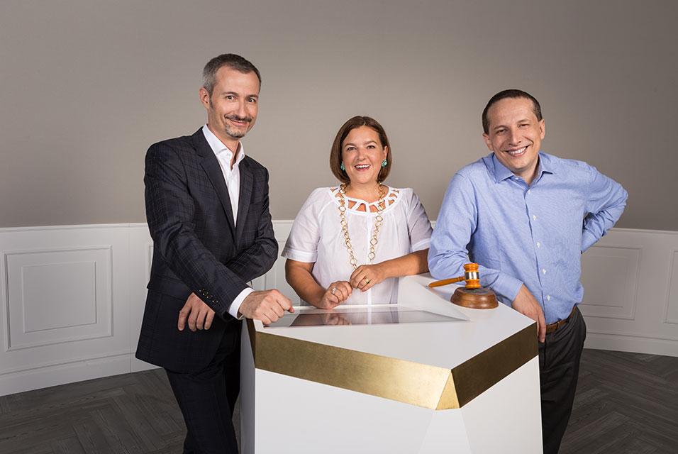 Auctionata Founders, left to right, Georg Untersalmberger, Susanne Zacke, Alexander Zacke, via Art Daily