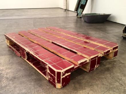 Matias Faldbakken, Tiled Pallet (2016), via Art Observed