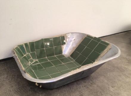 Matias Faldbakken, Tiled Wheelbarrow Tray (2016), via Art Observed