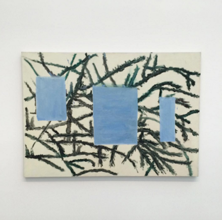Raoul De Keyser, Bern-Berlin hangend (2012), via Art Observed