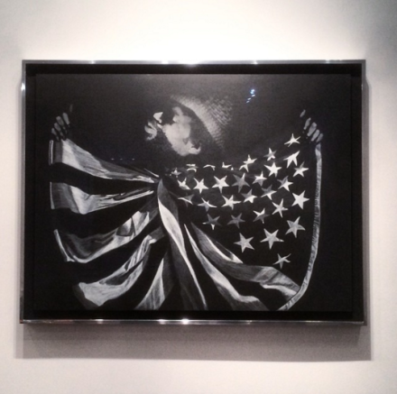David Hammons, Untitled (Man with Flag) (2014), via Art Observed