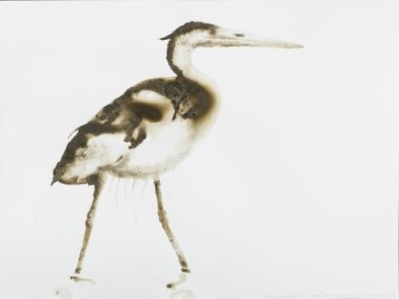 Alexis Rockman, Great Blue Heron (Swindlers Cove, Harlem River, Bronx) (2016), via Salon 94