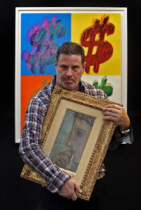 Dealer Kenneth Hendel with the Picasso, via Miami Herald