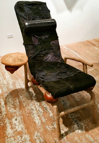 Jessi Reaves, Muscle Chair (Laying down to talk) (2016), via Art Observed