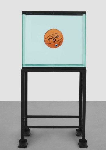 Jeff Koons, One Ball Total Equilibrium Tank (Spalding Dr. J Silver Series) (1985), via Christie's
