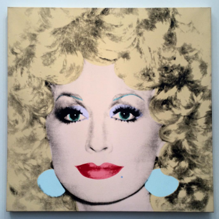 Andy Warhol, Dolly Parton (1985), via Art Observed