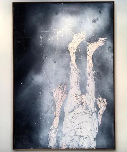 Georg Baselitz, Ohne Hemd auf der Matratze liegen (2015), via Art Observed
