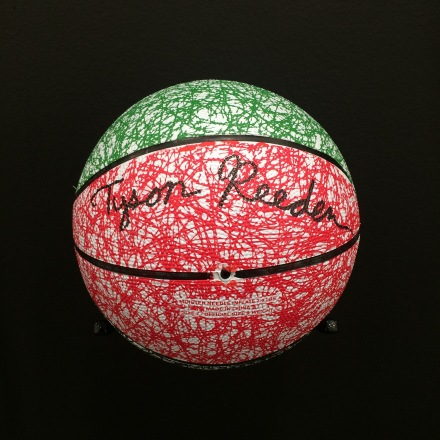 Tyson Reeder's 4-pen basketball, via Art Observed